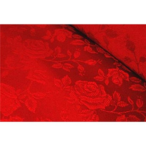 Floral Jacquard Brocade Satin Fabric by the Yard (Red)