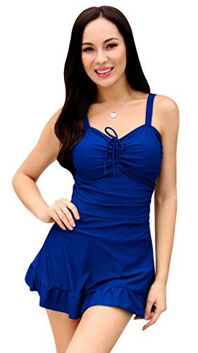 (SHEKINI Womens Bathing Suits Ruched Swimdress Ruffled Hem One Piece Swimdsuits (Jewelry Blue - D, Small))