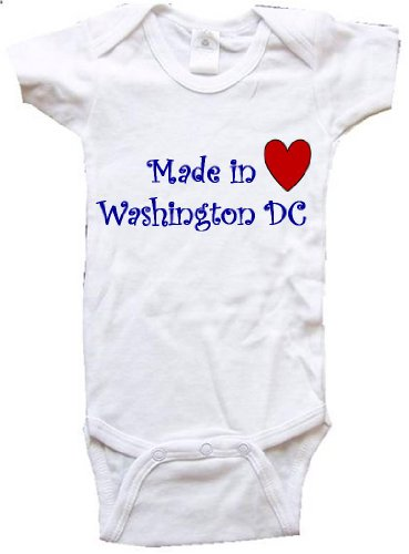 MADE IN WASHINGTON DC - WASHINGTON DC BABY - City Series - White Baby One Piece Bodysuit - size Small - Arlington Mall Virginia