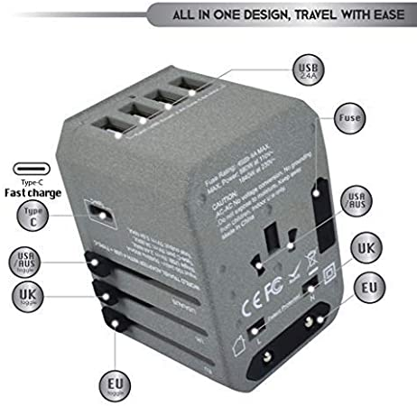Power Plug Adapter - Work 150+ Countries Travel Adapter w//5 USB Ports and USB Type C UK Japan China Europe Type C A G I A//C International Travel 220 Volt Adapter
