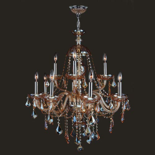 Worldwide Lighting Provence Collection 12 Light Chrome Finish and Amber Crystal Chandelier 28