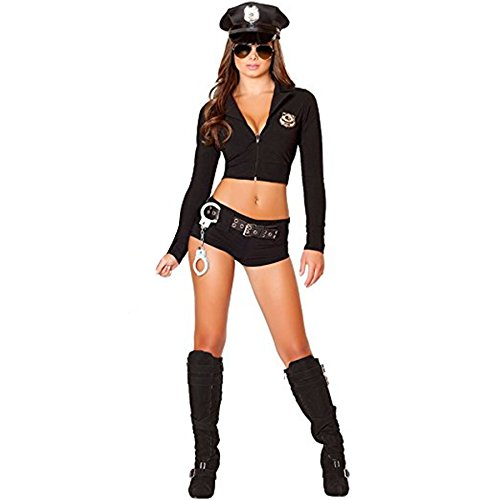 FORNY Women Police Costume Cosplay Cop Uniform Halloween Officer Outfits (Style 2) Black