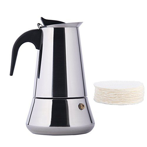 Minchsrin 6-Cup 300ml Stovetop Moka Espresso Maker with 100 Disposable Filters by Minchsrin