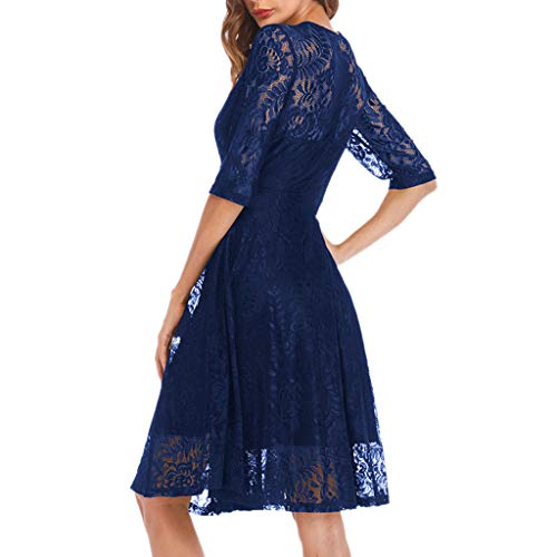 TANLANG Women Formal Dresses Elegant Lace Wedding Evening Dress Casual Half Sleeve Knee-Length Skirt Captains Night Dress Blue