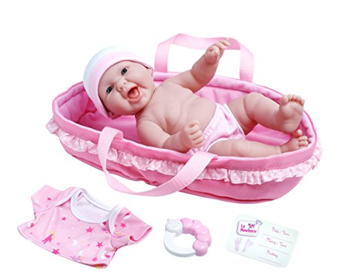 (La Newborn Realistic Baby Doll Soft Basket Set - 6 Piece Gift Set featuring 13