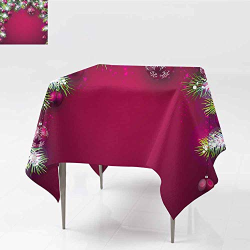 Jbgzzm Christmas Easy Care Tablecloth Festive Traditional Composition with Fir Branches Vivid Balls Snowflakes Party W36 xL36 Magenta Green ()