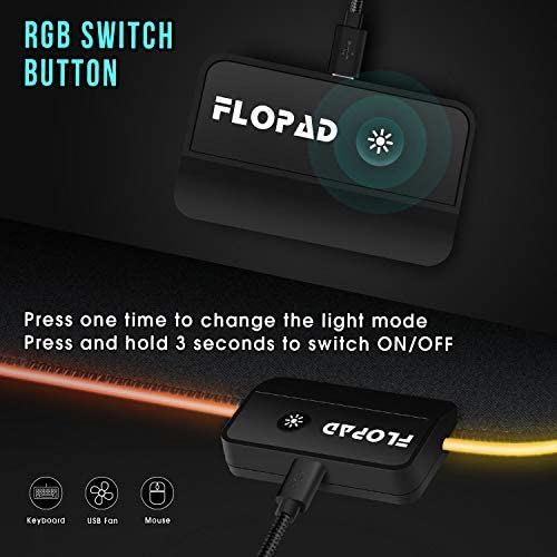 LARGE RGB GAMING MOUSE PAD - 14 LIGHT MODES EXTENDED COMPUTER KEYBOARD MAT WITH DURABLE STITCHED EDGES AND NON-SLIP RUBBER BASE, HIGH-PERFORMANCE MOUSE PAD OPTIMIZED FOR GAMER 31.5X 11.8IN