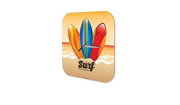 Reloj De Pared Retro Deco tablas de surf Plexiglas Impreso: Amazon.es: Hogar