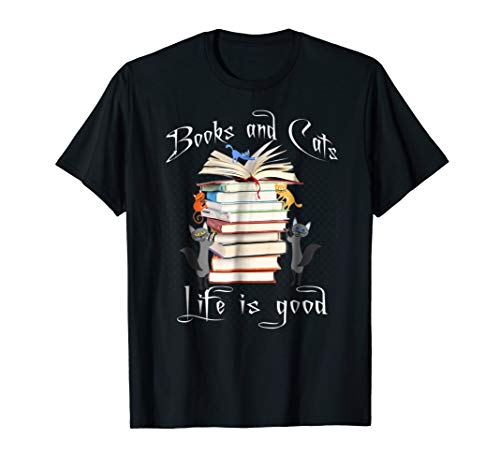 Books Cats Life is Good Tshirt (Womens Life Is Good Clothes)
