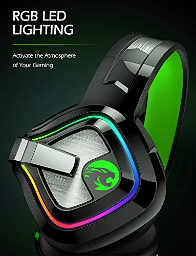 ZIUMIER Z66 Gaming Headset for PS4, Xbox One, PC, Wired Over Ear Headphone with Noise Isolation Microphone, LED RGB…