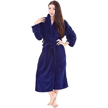 Warm Kimono Robe for Women and Men - Plush Spa Bath Robe / Bathrobe Cobalt Blue