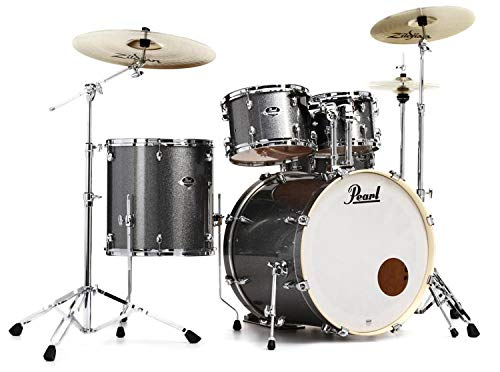 Pearl Export Bass Drum - Pearl Export EXX 5-Piece Drum Set With Cymbals & Hardware - Grindstone Sparkle