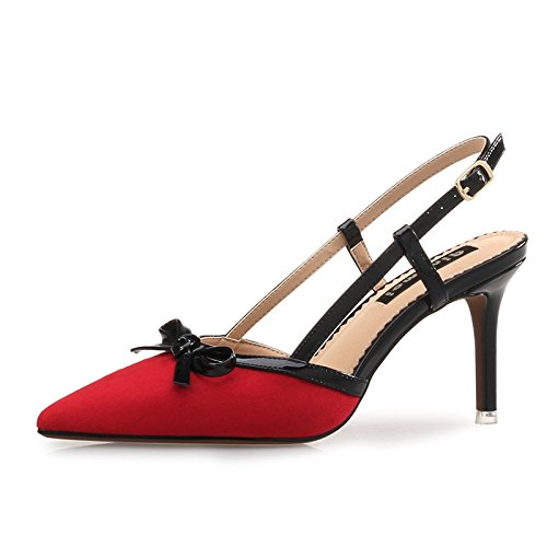Sandales 36 Uniquement lgantes Rouge Talons Polyvalentes Pointe Et Avec Hauts Chaussures TxXwqnRCv