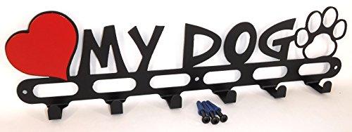 Dog Leash Hook. Hanger. Holder. Love My Dog. Solid Steel. Handmade in USA. Satin Black Texture ()
