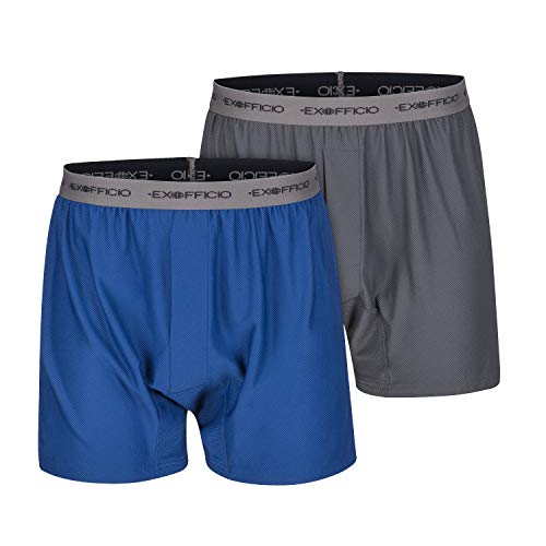 ExOfficio Men's Give-N-Go Boxer, Granite/Admiral, 2 Pack - Large