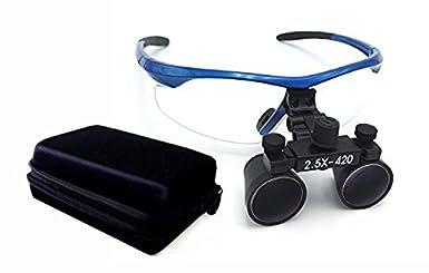 BoNew DY-101 - Lupas prismáticas quirúrgicas de cristal óptico (2,5 x 420 mm, marco de plástico, antiniebla), color azul