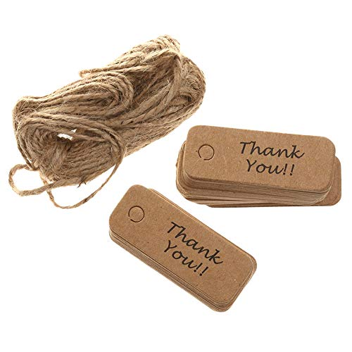Thank You Gift Tags with 66 ft Natural Jute Twine, 200pcs Small Rectangular Brown Gift Labels for Wedding, Thanksgiving, Father's Day
