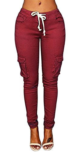 Caat Aycox Womens Solid Color Stretch Drawstring Skinny Pants Cargo Joggers Wine S= US XS
