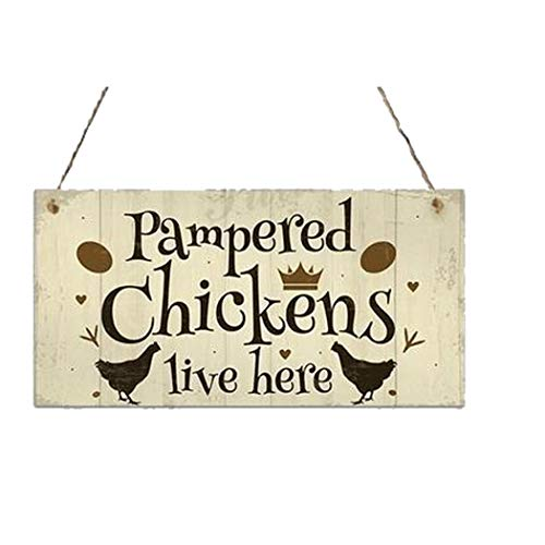 flowop Hanging Wall Art,Wood Chicken Coop Hanging Plates Chicken Decorative Wood Sign Home Decor