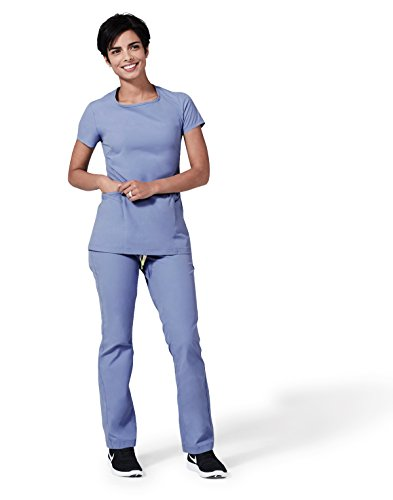 (Medelita Element Argon Women's Scrub Pants | Fitted Stretch Medical Uniform Which is Stylish and Comfortable with Reinforced Elastic Waistband | 5 Pockets and a Scissor Loop | Ceil |)