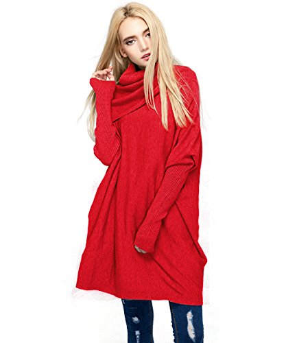 MML Womens Cowl Neck Long Sleeve Loose Knit Top Cable Pullover Sweaters (One Size, Christmas Red) ()
