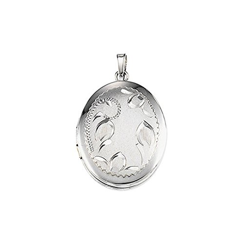 - Sterling Silver 26mm Satin and Polished Floral Oval Locket