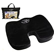 Orthopedic Memory Foam Seat Cushion by Save&Soft–Coccyx Pillow for The Car, Bus, Plane, Park Bench & More