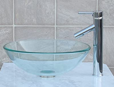Bathroom clear Glass Vessel Sink & chrome Faucet Combo & chrome Pop Up Drain Mounting Ring (R12C1)