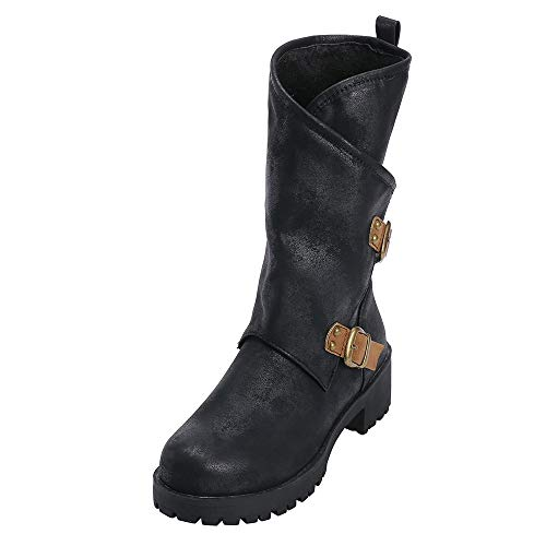 Clearance Sale Military Boots,Womens Western Artificial Leather Waterproof Zipper Buckle Boots (Black, US:6.5) ()