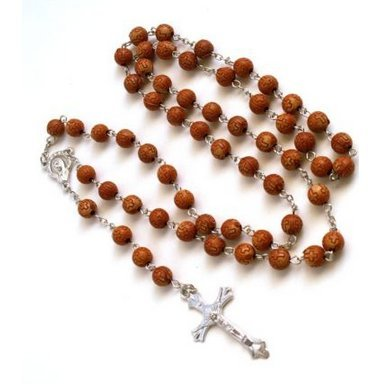 (Beautiful Gift! Brown Acrylic Rosary Beads Cross Necklace / Pendant Crucifix Chain NecklaceRosario Rosery Chaplet Holy Prayer Pray Anglican Men Women Mini Long Birthday Beaded Mary Jesus Jewellery Jewlery Unique)
