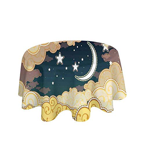 Fantasy Decor Waterproof Anti-Wrinkle no Pollution Cartoon Style Night Sky with Clouds and Half Moon Cloudscape Illustration Table Cloth D47 Inch Yellow Beige White