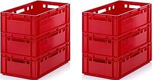 Rojo caja de almacenamiento 600x 400x 200mm–Estantería de almacenamiento–higiénico caja de carne–Apilamiento caja de plástico–Euro contenedor–Heavy Duty, rosso