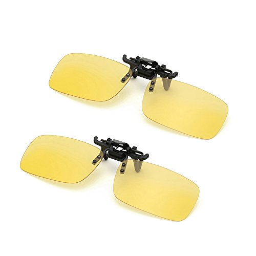 Clip on Sunglasses Flip Up Polarized Sunglasses Eyeglass by AUUS [2-Pack] for Driving[Nitht - Low Cost Polarized Sunglasses