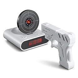 CHENNAN Novelty Unique 2.3 inch LCD Gun Target Shooting Alarm Clock Set (4AA/2AA)(White) Creative Decoration
