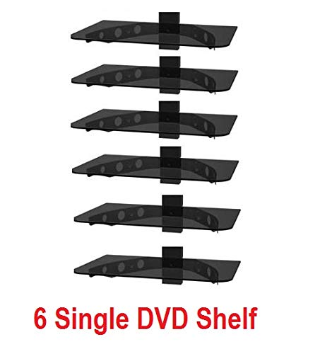 ([1431] 6 Single Glass Component Shelf for DVD Player, VCR, Cable Box, Satellite, Ps3, Xbox, Wii and Video Accessories (16 Wide X 12 Deep))