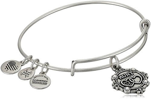 Alex and Ani Womens Because I Love You, Aunt Charm Bangle Bracelet, Rafaelian Silver, Expandable