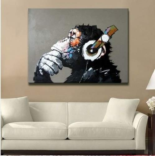 Libaoge Modern Gorilla Monkey Music Oil Painting Wall Painting Canvas Painting Home Decor Oil on Canvas 33x33 inches
