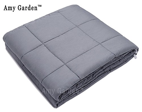 Weighted Blanket for Anxiety, ADHD, Autism, OCD - Premium Weighted Blanket for Sensory Processing Disorder By Amy Garden (48''x72'', Grey Inner Weighted Layer,15lbs) by Amy Garden