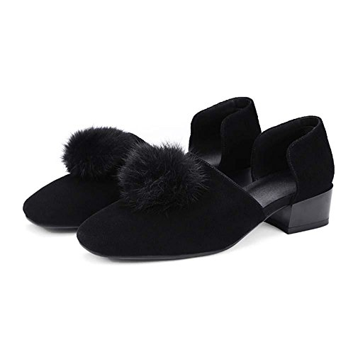 Onfly Señoras sandalias Bola de pelo Dedo del pie cuadrado escarchado zapatillas Tacón bajo Zapatos Black