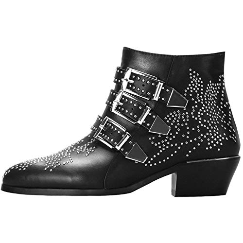 Boots for Women,Women's Leather Boot Rivets Studded Shoes Metal Buckle Low Heels Ankle Studded Booties Black Silver 11 Size - Leather Black Studded Silver