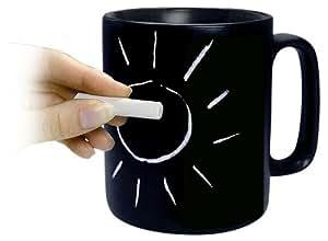 Konitz Classic Chalk Talk 12-Ounce Mug, Black, Gift Boxed