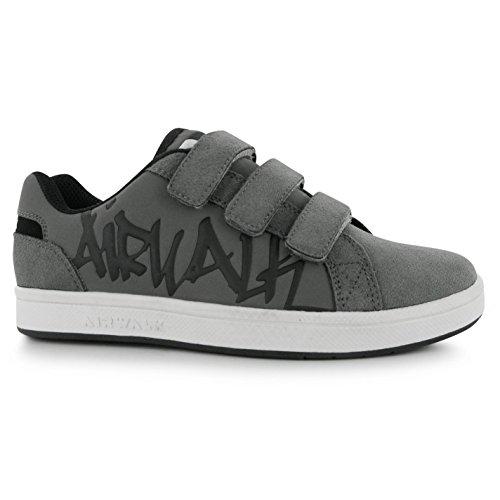 Airwalk Neptune Kinder Jungen Turnschuhe Klett Sport Schuhe Skate Sneaker Grau
