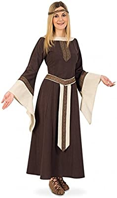 Fritz Fries & Söhne GmbH & Co Traje Medieval Mujer Noble Greta Vestido marrón Beige Larp Ropa Carnaval (L)