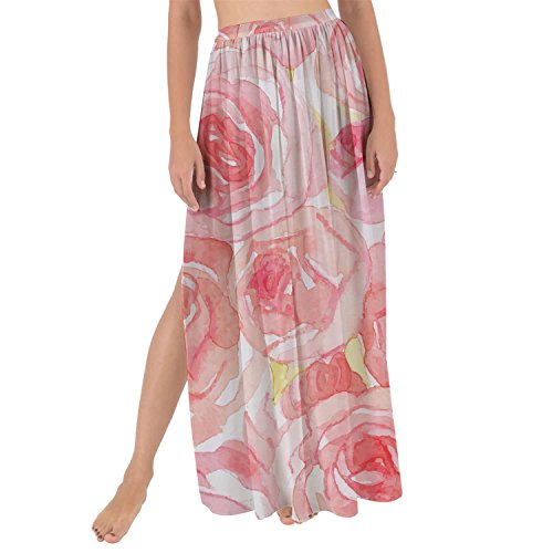 Queen of Cases Watercolor Roses Maxi Sarong Skirt - M (Skirt Rose Watercolor Print)