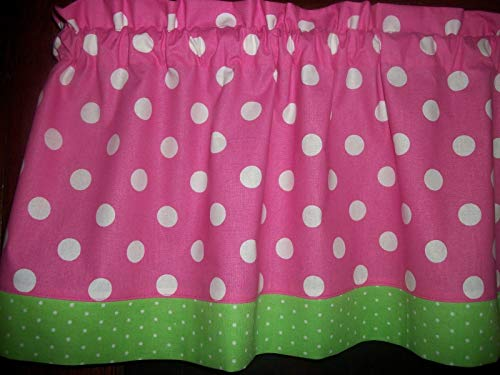 Pink Polka Dot Lime Green Trim bedroom fabric decor treatment covering curtain window topper Valance
