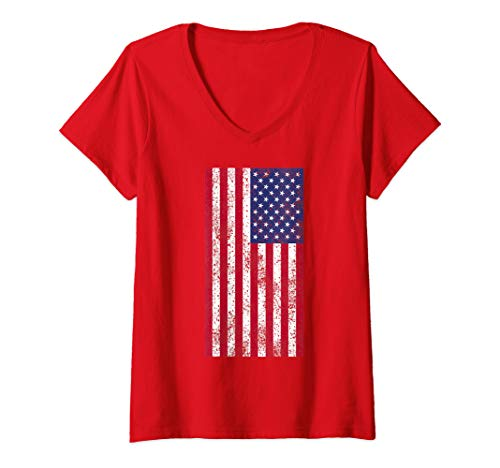4th Of July Tees - Womens 4th of July Tees & Tops American Stars Distressed U.S. Flag V-Neck T-Shirt