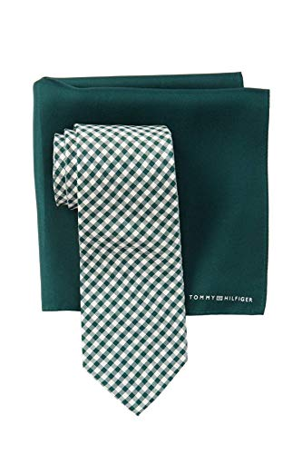 Tommy Hilfiger Men's Gingham Tie & Pocket Square Set (Green) (Set Hilfiger Tie Tommy)