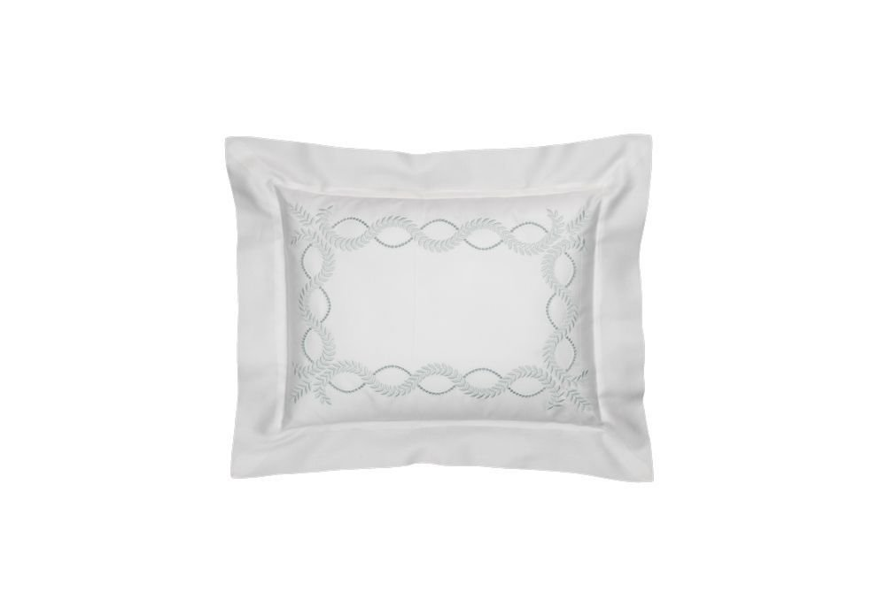 Dea Diana Embroidery Sateen Pillow Sham, Boudoir, Ivory/Aqua by Dea
