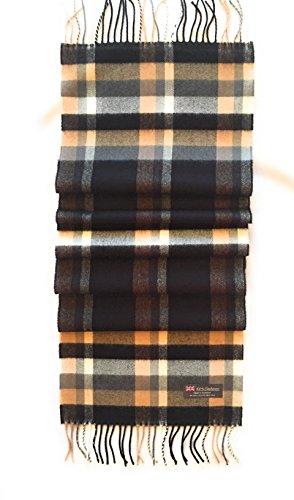 100% CASHMERE SCARF - BLACK & TAN PLAID - MADE IN SCOTLAND (Black & Tan Plaid)