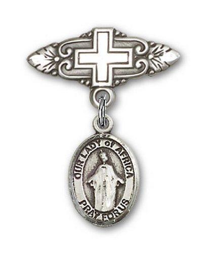 Icecarats Créatrice De Bijoux En Argent Sterling O / L De L'Afrique Broche De Badge Charme Avec Une Croix X 3/4